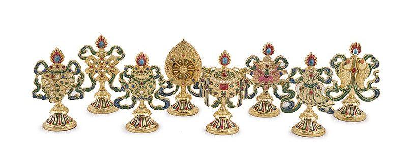 Set Cele 8 Obiecte Norocoase din Tibet -metal