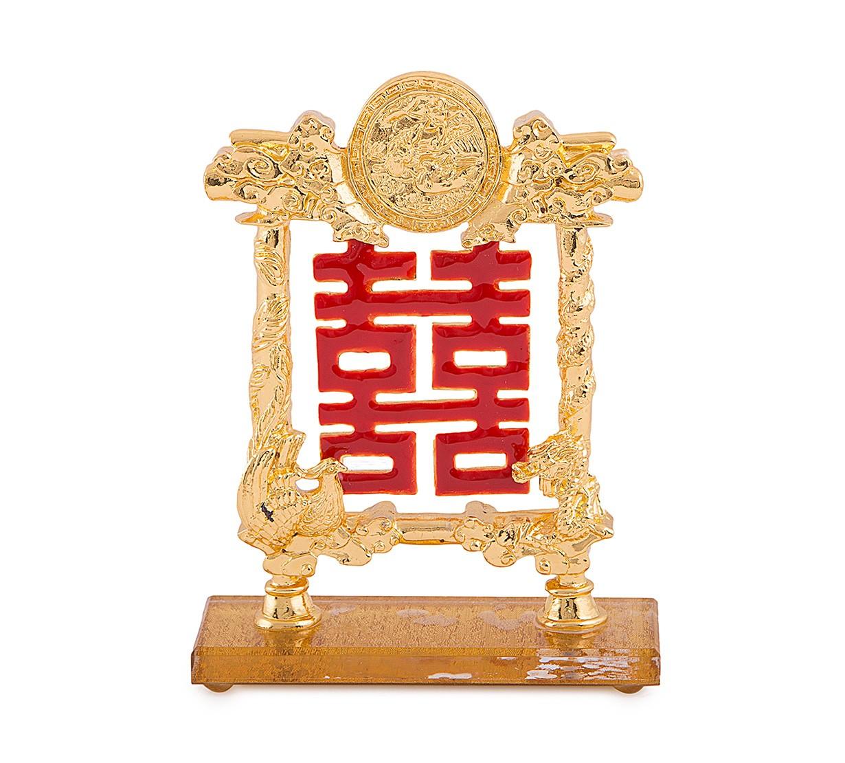 Simbolul Dublei Fericiri cu Dragon si Phoenix si Rate Mandarine - placa metal