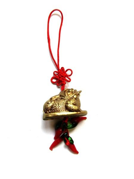Amuleta Feng Shui cu Broasca Norocoasa cu Trei Picioare si Ardei Rosii