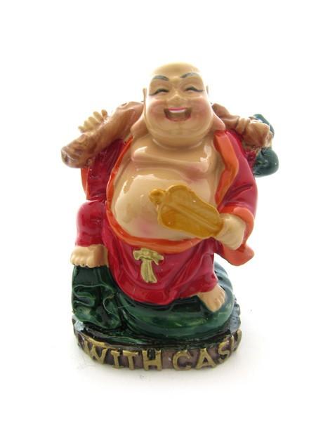 Buddha Vesel pe Sacul Prosperitatii cu Evantai si Wu Lou