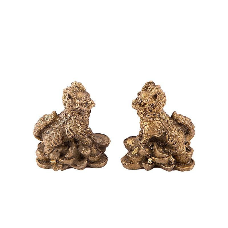 Pereche Chi Lin pe Monede si Pepite - bronz