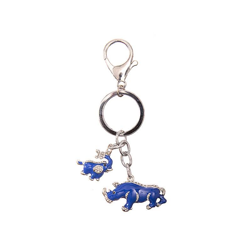 Breloc Feng Shui cu Elefant si Rinocer Albastri - metal