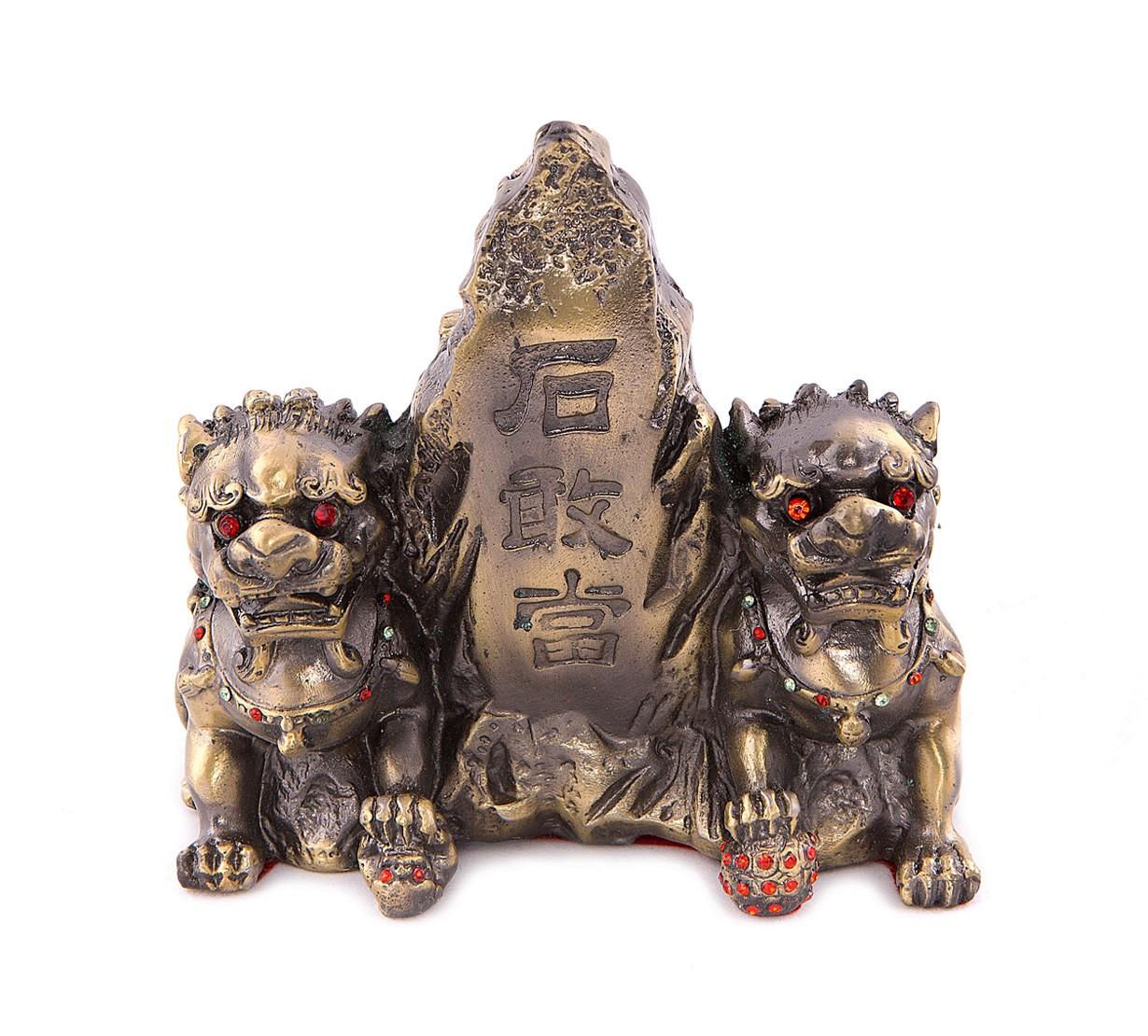 Caini Fu cu Munte Shigandang - bronz