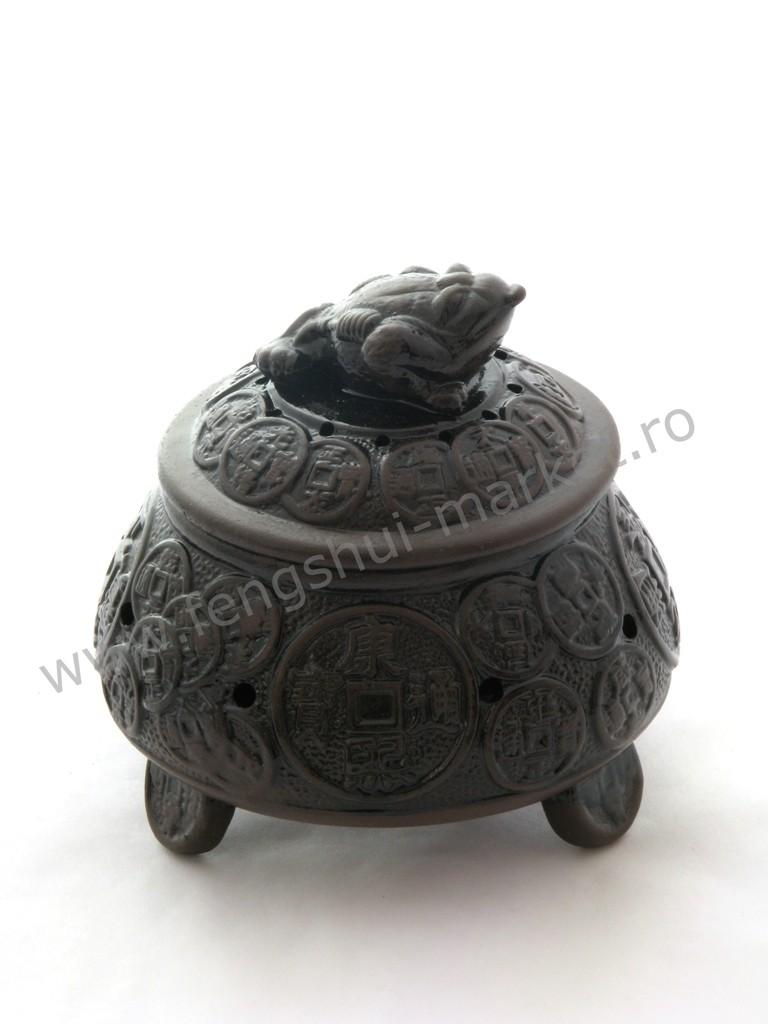 Arzator betisoare si conuri cu Broasca Banilor - ceramica