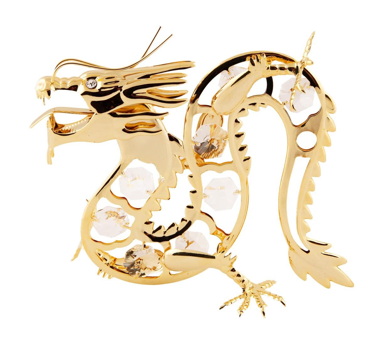 Dragon Norocos cu Cristale Swarovski - placat cu Aur 24K