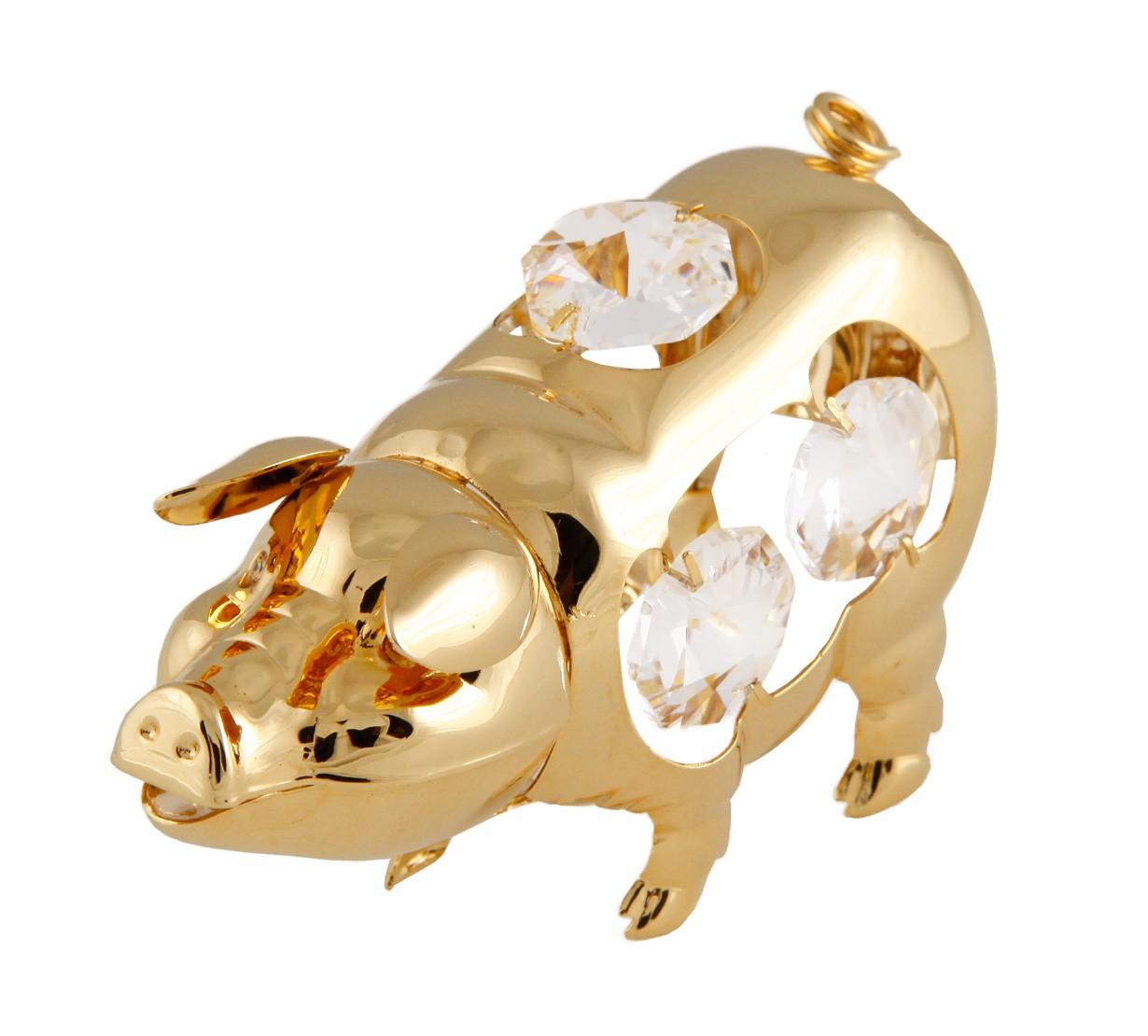 Porc cu Cristale Swarovski - placat cu Aur 24K
