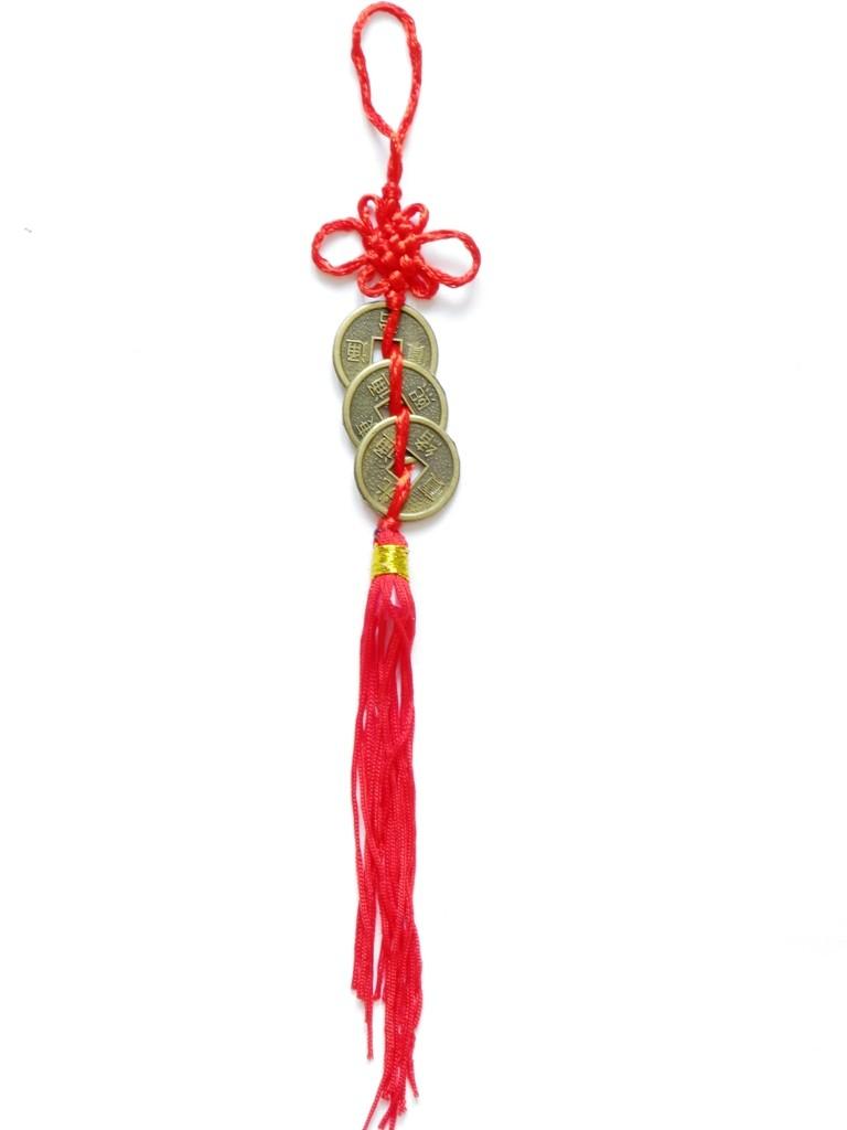 Amuleta Feng Shui cu 3 Monede I-Ching