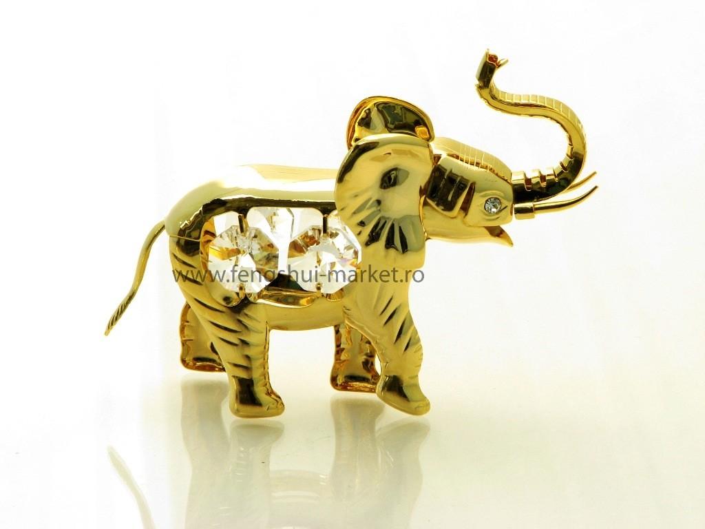 Elefant cu Cristale Swarovski - placat cu Aur 24 K