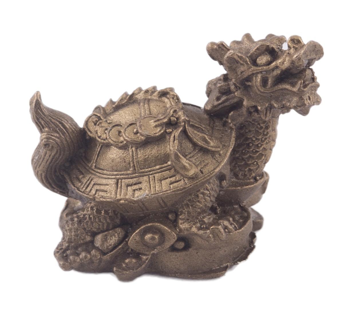 Testoasa - Dragon cu sirag de monede - bronz - marime mica