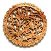 Tablou cu 2 Pasari si Floare de Lotus - lemn