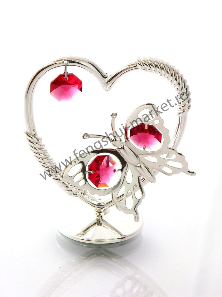 Inima cu fluture cu Cristale Swarovski - placat cu Argint 925