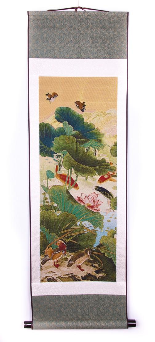 Stampa cu Flori de Lotus , Rate Mandarine si Carasi