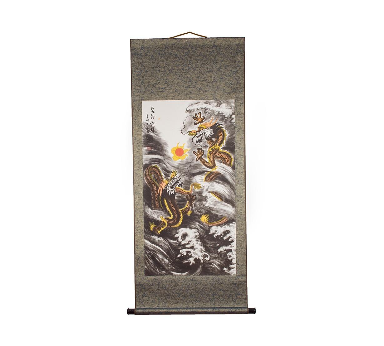 Rol Feng Shui cu 2 Dragoni Norocosi si Bila de Foc