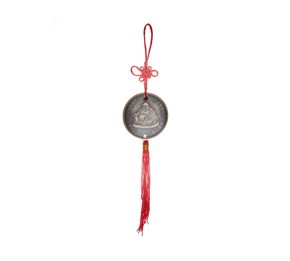 Amuleta Moneda cu Buddha Vesel - metal
