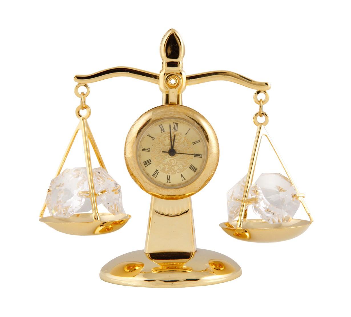 Balanta cu Ceas cu Cristale Swarovski - placata cu Aur 24K