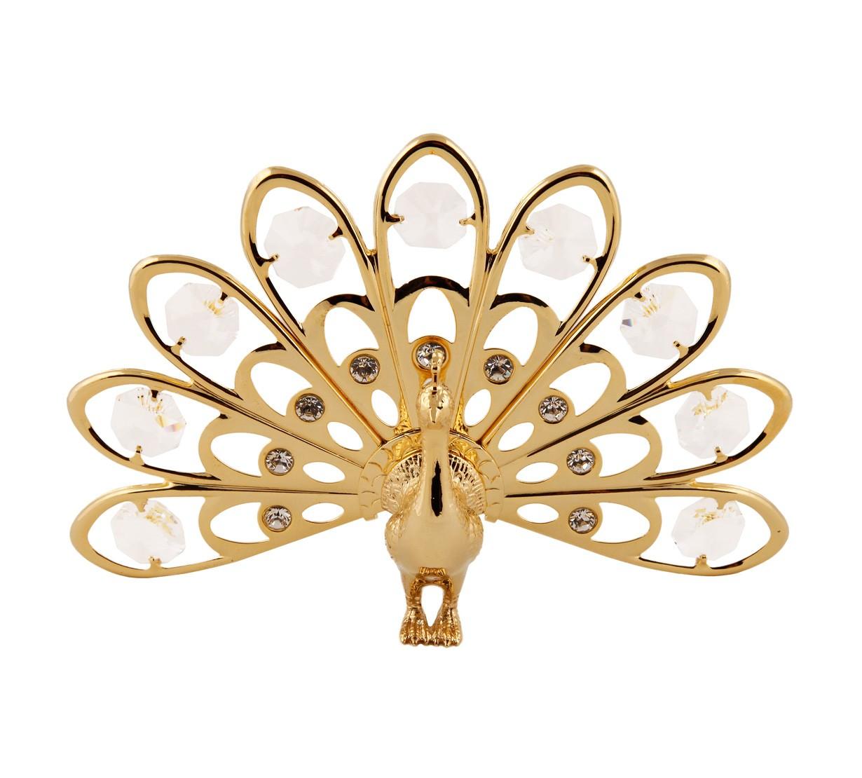Paun cu Cristale Swarovski - placat cu Aur 24 K