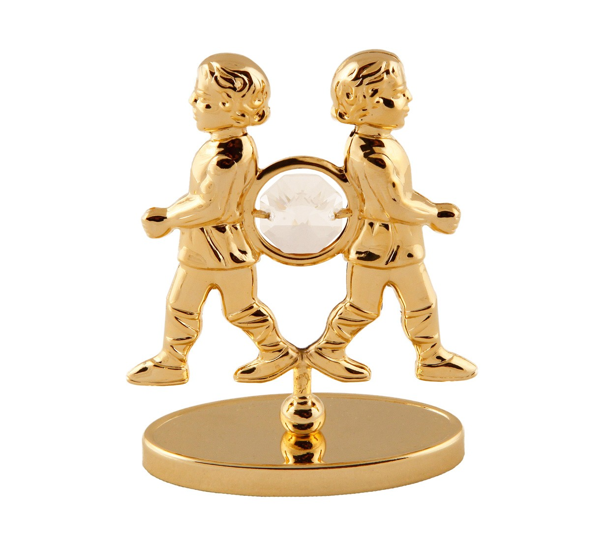 Gemeni pe stativ cu Cristale Swarovski - placat cu Aur 24K