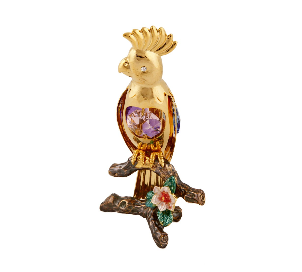 Papagal cu Cristale Swarovski - placat cu aur 24K