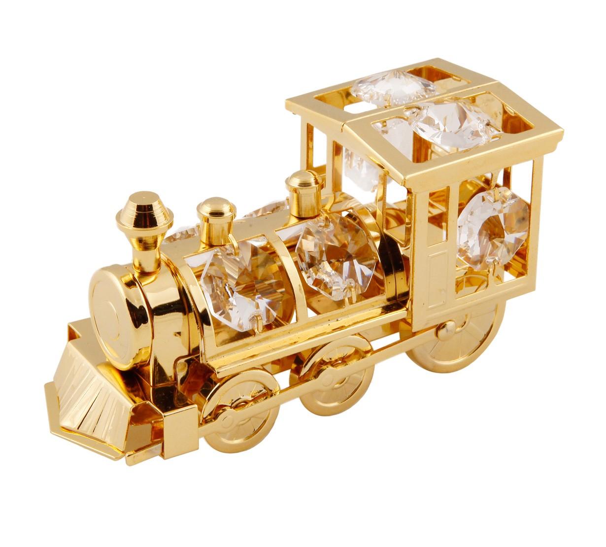 Locomotiva cu Cristale Swarovski - placata cu Aur 24k