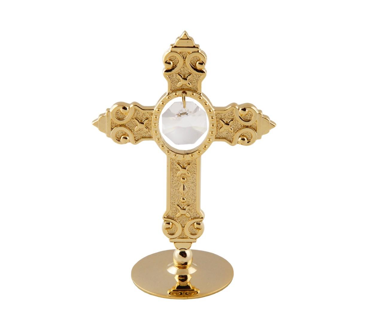 Cruce cu cristale Swarovski - placata cu Aur 24K