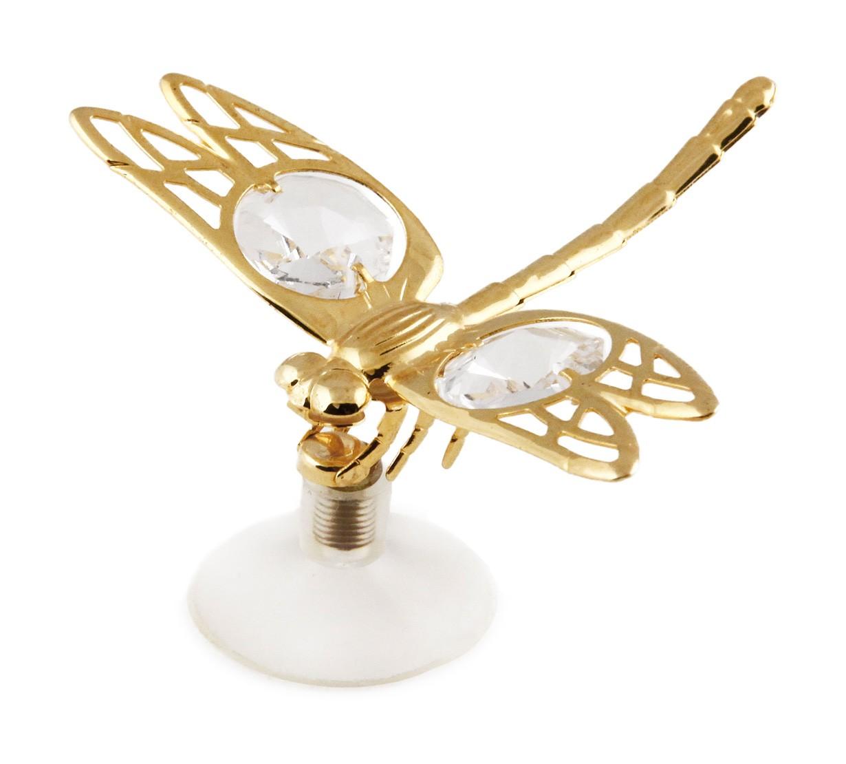 Libelula cu Magnet cu Cristale Swarovski - placata cu Aur 24K