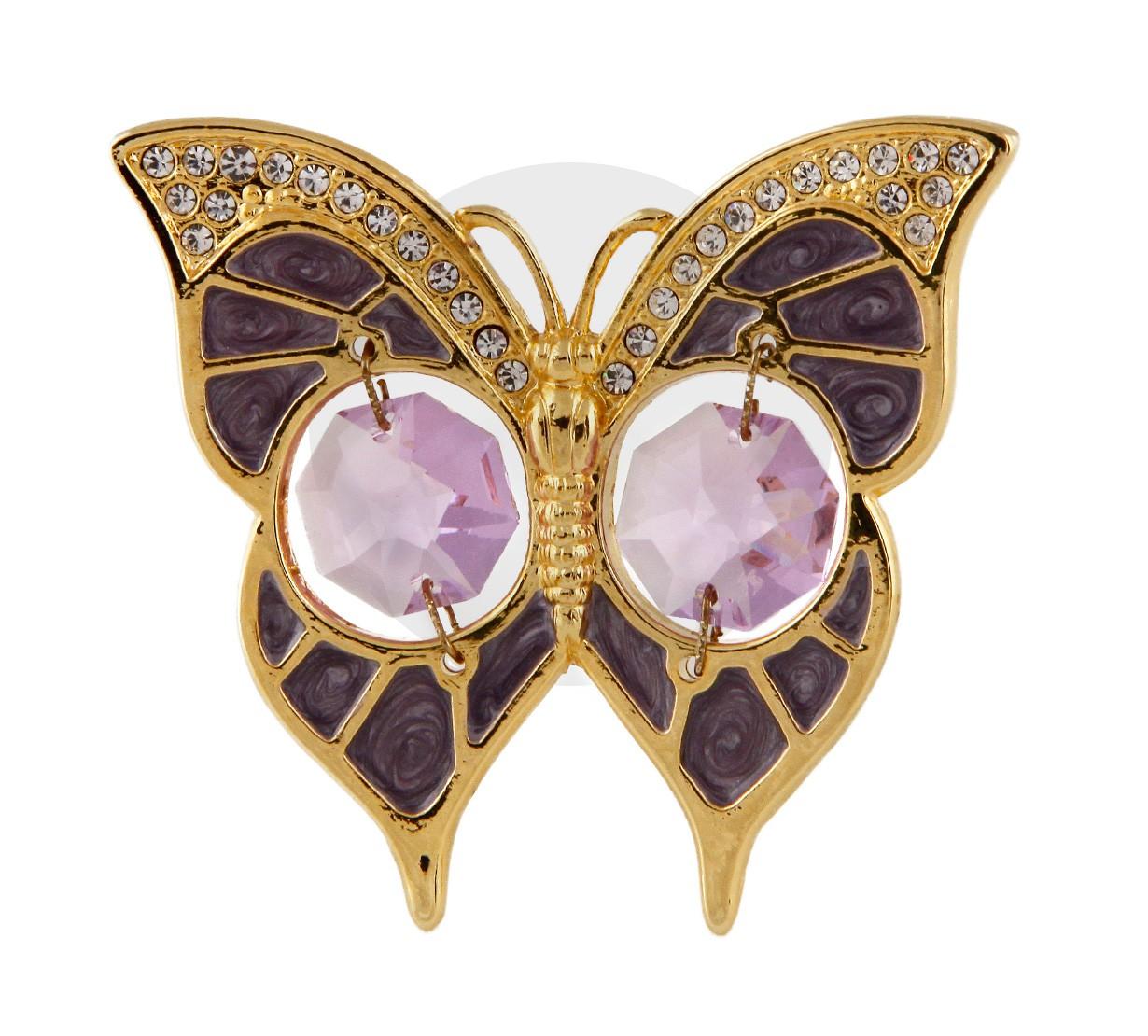 Fluture Albastru-Violet cu Cristale Swarovski - placat cu Aur 24K
