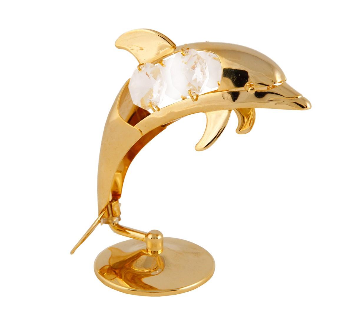 Delfin cu Cristale Swarovski - placat cu Aur 24K