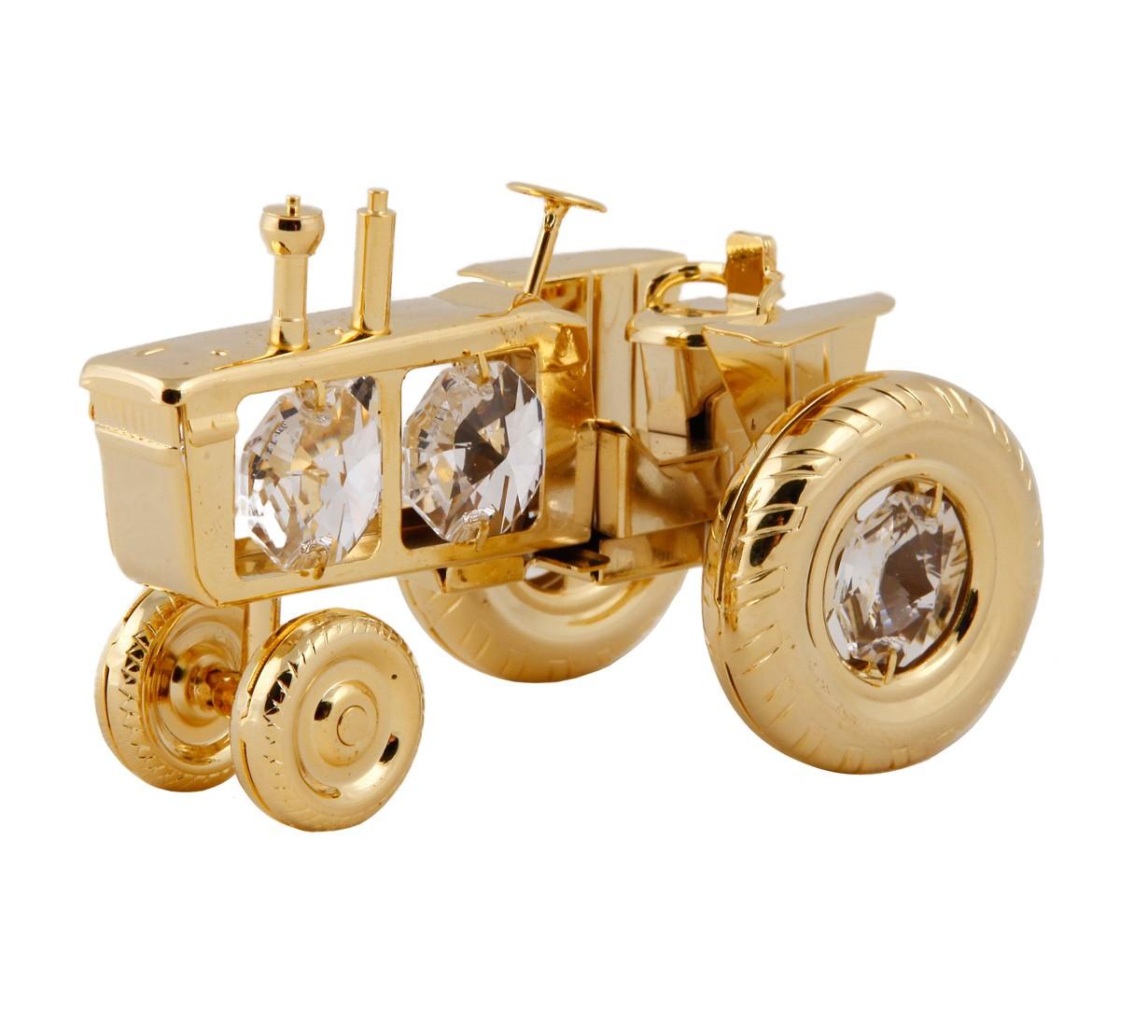 Tractor cu Cristale Swarovski - placat cu Aur 24k