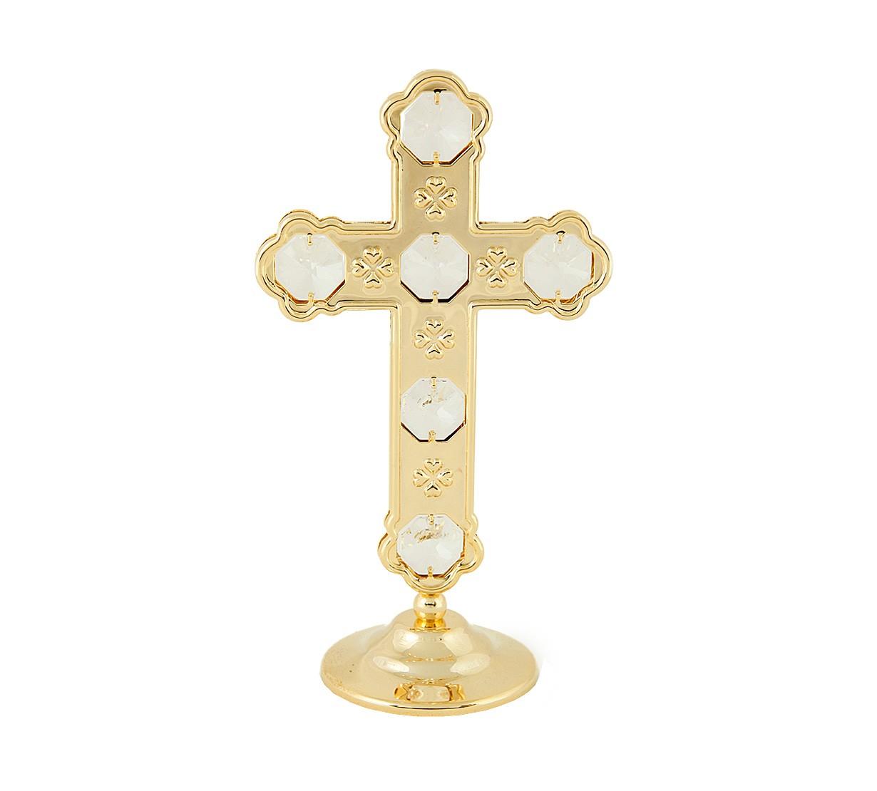 Cruce cu Cristale Swarovski - placata cu Aur 24 k - marime mare