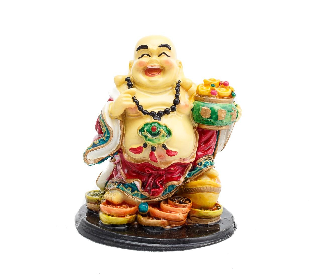 Buddha Vesel pe Monede si Pepita cu Vasul Prosperitatii - marime medie