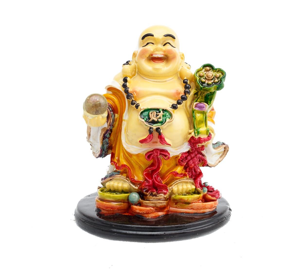 Buddha Vesel pe Monede cu Ru Yi si Sfera - marime medie