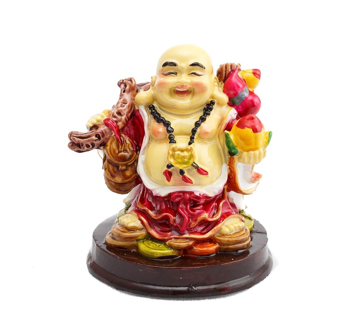 Buddha Vesel pe Monede cu Piersica Nemuriri , Sirag cu 3 Monede si Wu Lou - marime medie