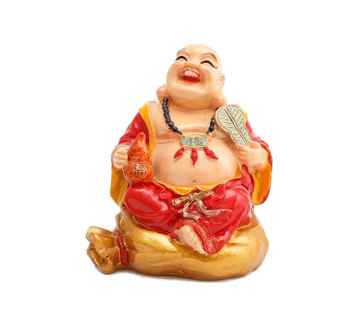 Buddha Vesel pe Sacul Bogatiei cu Evantai si Wu Lou - marime medie