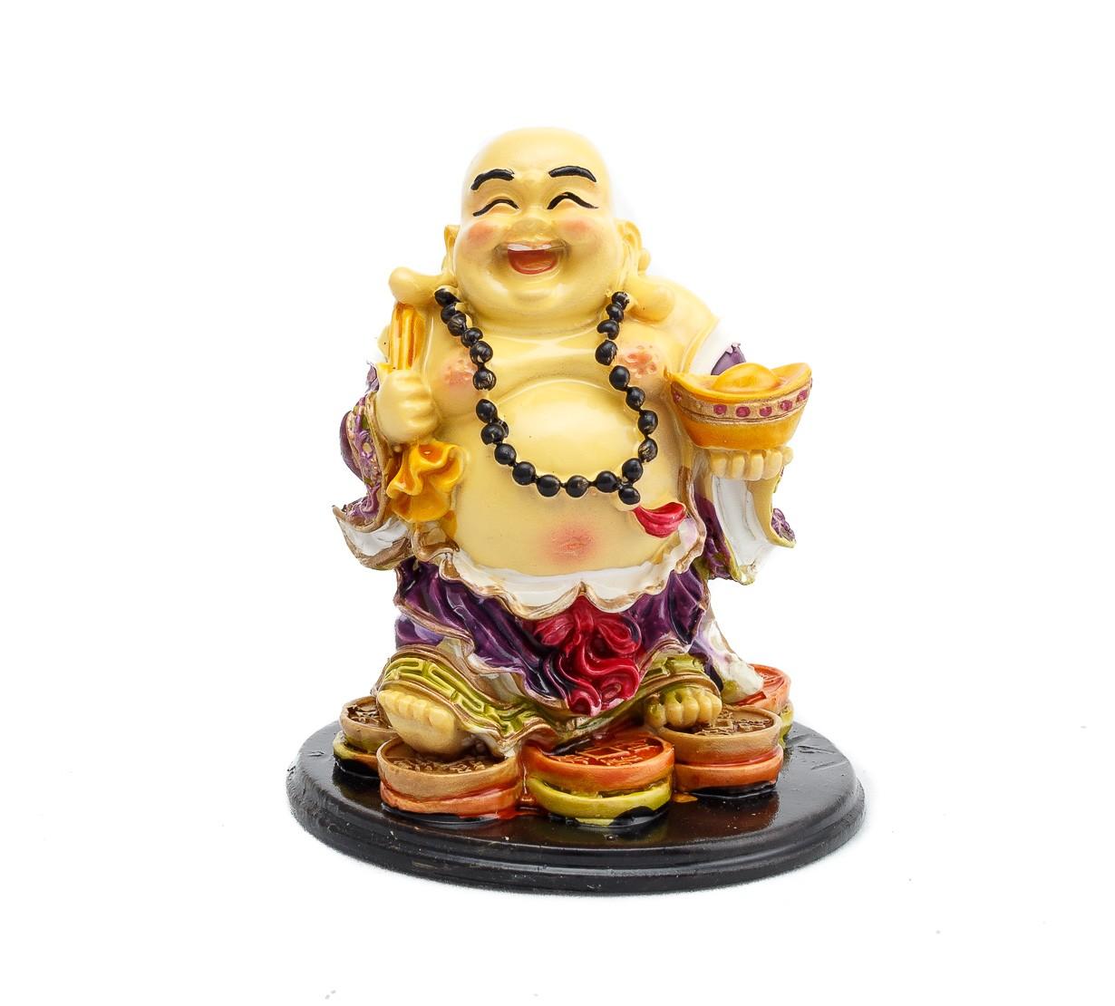 Buddha Vesel pe Monede cu Sacul Bogatiei si Pepita