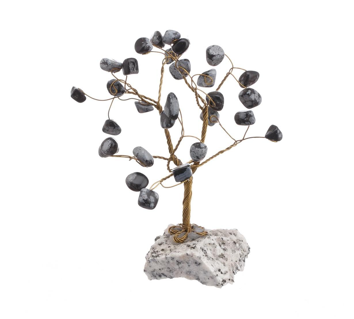 Copac Feng Shui cu cristale Obsidian Fulg de Nea pe suport piatra - model unicat
