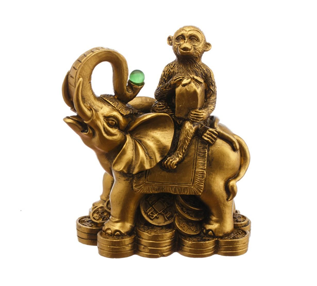 Maimuta cu Sacul Prosperitatii pe Elefant